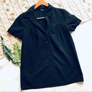 Theory Black Eyelet Button Up Blouse (S)